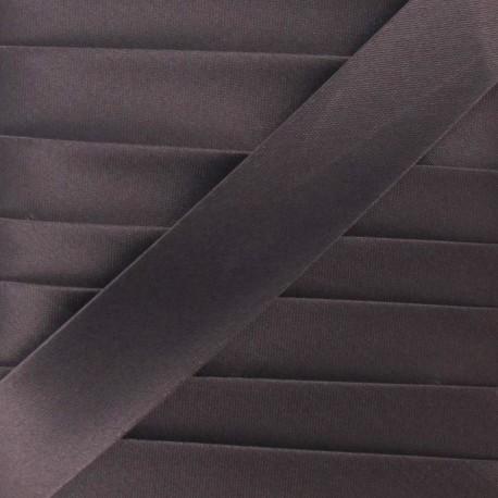 Satin bias binding, 20 mm - brown