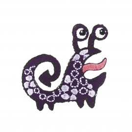 Little Monster iron-on applique - purple