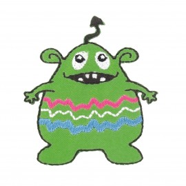 Little Monster iron-on applique - green