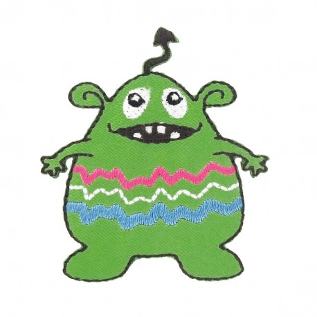 Little Monster iron-on applique - green