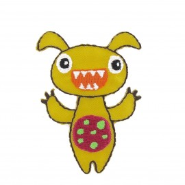 Little Monster iron-on applique - yellow