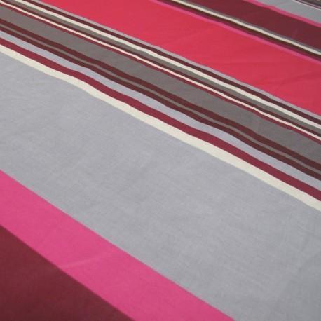 Tissu enduit coton Sebastian gris/rose x 10cm