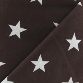 Tissu Grandes étoiles marron x 10cm