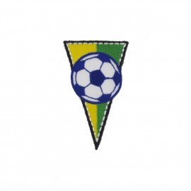 Brazil soccer Club Flag, triangle-shaped iron-on applique - multicolored