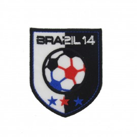 France Brazil 2014 soccer Badge iron-on applique - black & white