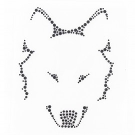 Wolf head iron-on applique - black