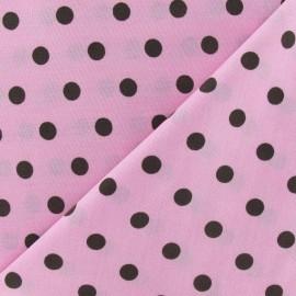 Tissu Pois multi marron fond rose x 10cm
