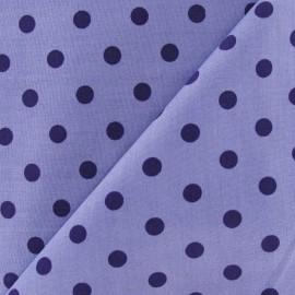 Tissu Pois multi violet fond parme x 10cm