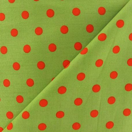 Tissu Pois multi orange fond vert x 10cm