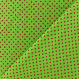 Tissu petit pois multi fuchsia fond pomme x 10cm