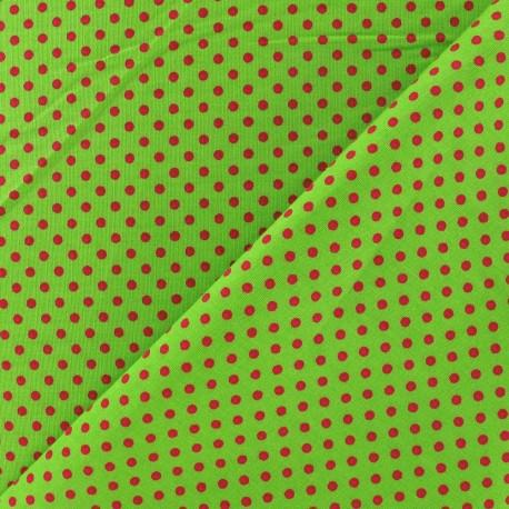 Fabric petit pois multi fuchsia fond pomme x 10cm