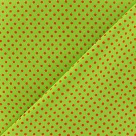 ♥ Coupon tissu 90 cm X 140 cm ♥ petit pois multi brique fond lime
