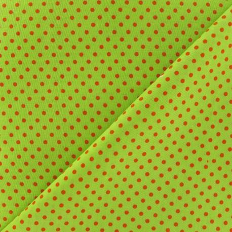 Tissu petit pois multi brique fond lime x 10cm