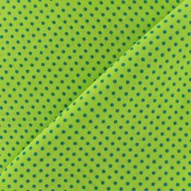 Tissu petit pois multi turquoise fond anis x 10cm