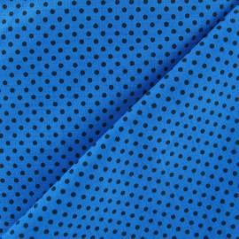 Tissu petit pois multi marron fond turquoise x 10cm
