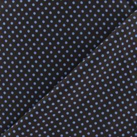 Tissu petit pois multi bleu fond marron x 10cm