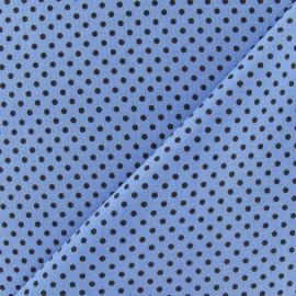Tissu petit pois multi marron fond bleu x 10cm