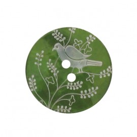 Mother-of-Pearl button, perched bird - moss