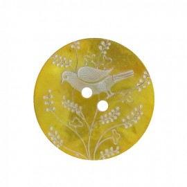 Mother-of-Pearl button, perched bird - yellow