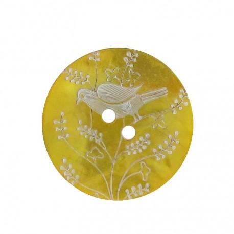 Bouton Nacre Oiseau perché jaune