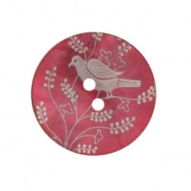 Mother-of-Pearl button, perched bird - pink