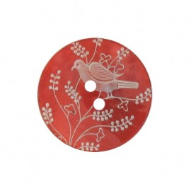 Mother-of-Pearl button, perched bird - red