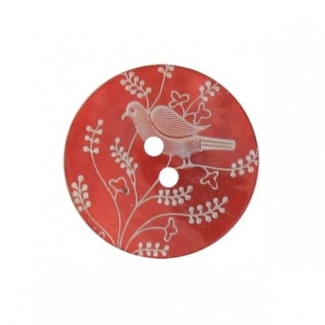 Bouton Nacre Oiseau perché rouge