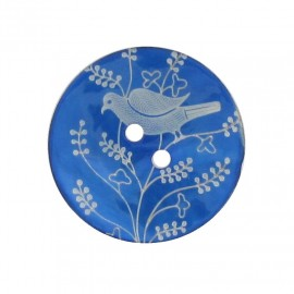 Mother-of-Pearl button, perched bird - blue