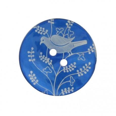 Bouton Nacre Oiseau perché bleu