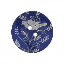 Mother-of-Pearl button, perched bird - navy blue