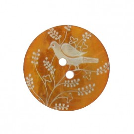 Mother-of-Pearl button, perched bird - orange