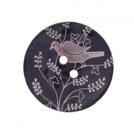 Bouton Nacre Oiseau perché violet