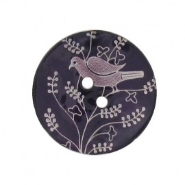 Mother-of-Pearl button, perched bird - purple