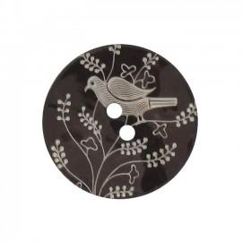 Bouton Nacre Oiseau perché marron foncé