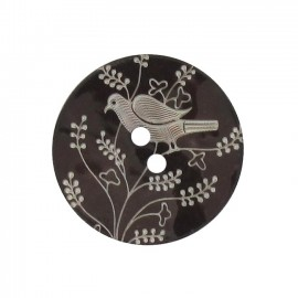 Mother-of-Pearl button, perched bird - dark brown