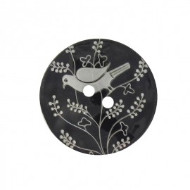 Mother-of-Pearl button, perched bird - black