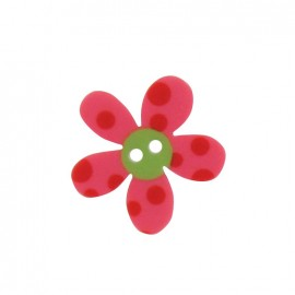 Polyester button, Pop Flower - pink