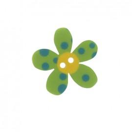 Bouton Polyester Fleur Pop vert