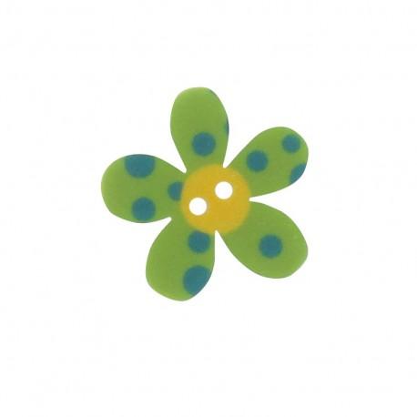 Polyester button, Pop Flower - green