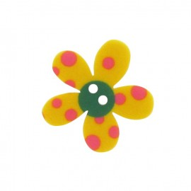 Polyester button, Pop Flower - yellow