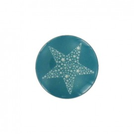 Polyester button, Star, Constellation -  turquoise