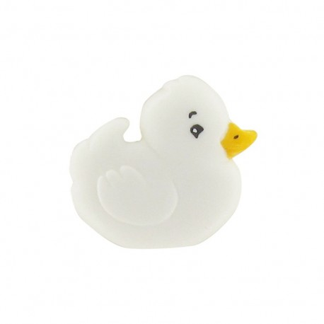 Polyester chick button - white