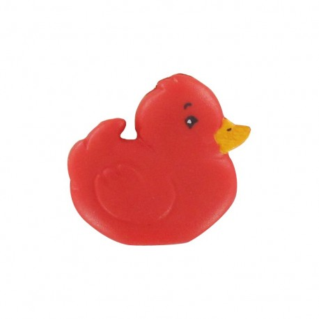 Polyester chick button - red