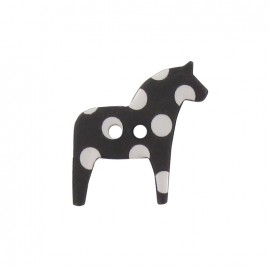 Polyester button, horse with white polka dots - black