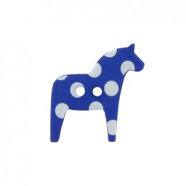 Polyester button, horse with white polka dots - blue