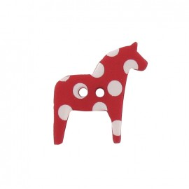Polyester button, horse with white polka dots - red