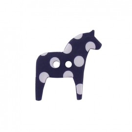 Polyester button, horse with white polka dots - navy
