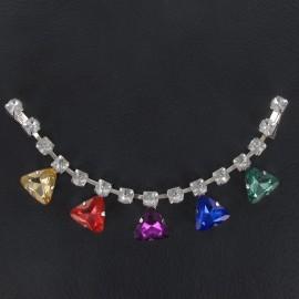 Rhinestones Collar jewels iron-on applique - multicolored