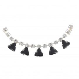 Rhinestones Collar jewels iron-on applique - black