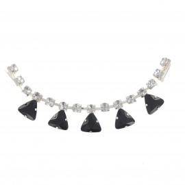 Rhinestones Collar jewels iron-on applique - black